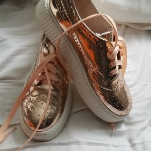 Shelly's Rose Gold platform sneakers